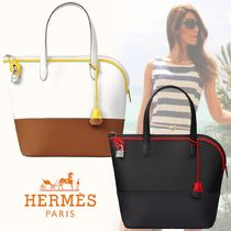 HERMES Casual Style Street Style Vanity Bags Bi-color Plain Leather