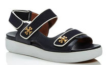 Tory Burch KIRA Open Toe Casual Style Leather Logo Platform & Wedge Sandals