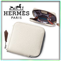 HERMES Silk In Calfskin Plain Leather Long Wallet  Coin Cases
