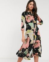 YAS Wrap Dresses Flower Patterns A-line V-Neck Cropped Medium