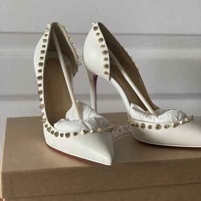 Studded Plain Leather Pin Heels Pointed Toe Pumps & Mules