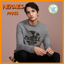 HERMES Crew Neck Street Style Long Sleeves Leather Cotton