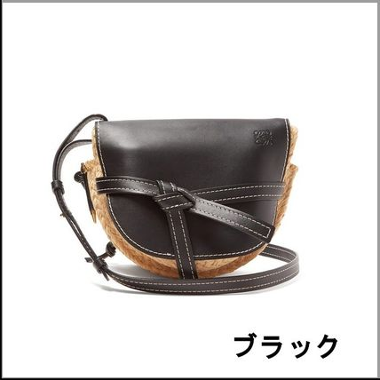 Casual Style Leather Crossbody Logo Satchels