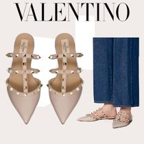 VALENTINO Studded Leather Party Style Office Style Elegant Style Mules