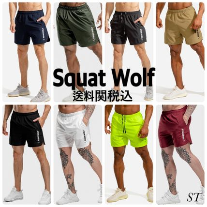 SQUAT WOLF Street Style Khaki Neon Color Activewear Bottoms