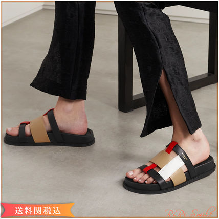Leather Footbed Sandals Logo Flat Sandals