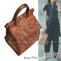 Ron Herman A VACATION Paisley Canvas Leather Elegant Style Totes