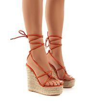 PUBLIC DESIRE Open Toe Platform Lace-up Casual Style Plain
