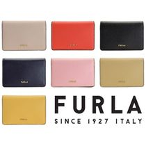 FURLA Plain Leather Folding Wallet Small Wallet Logo Card Holders