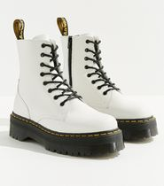 Dr Martens Platform Casual Style Street Style Plain Leather