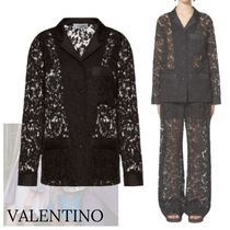 VALENTINO Flower Patterns Casual Style Nylon Long Sleeves Cotton