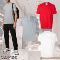 VALENTINO Crew Neck Studded Plain Cotton Short Sleeves