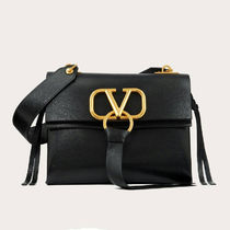 VALENTINO VRING Casual Style Plain Leather Crossbody Logo Shoulder Bags
