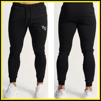 VANQUISH FITNESS Logo Tapered Pants Sweat Plain Cotton Tapered Pants