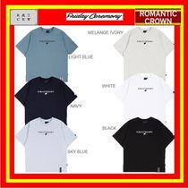 ROMANTIC CROWN Unisex Street Style U-Neck Cotton Short Sleeves Logo