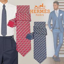 HERMES Silk Street Style Bi-color Other Animal Patterns Handmade