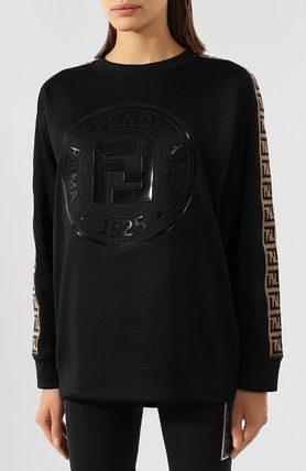 FENDI Crew Neck Short Rib Long Sleeves Plain Cotton Logo Cropped
