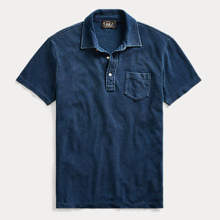 Plain Cotton Short Sleeves Logo Surf Style Polos