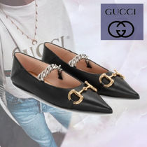 GUCCI Chain Plain Leather Ballet Shoes