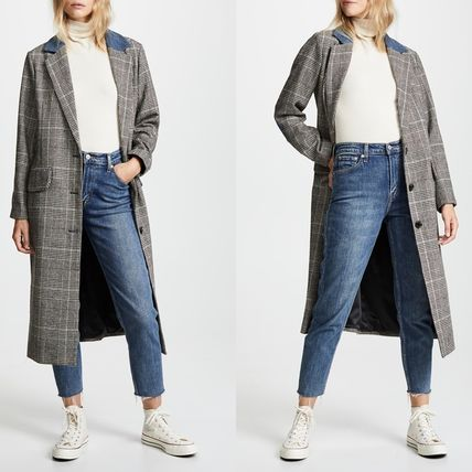 Glen Patterns Casual Style Wool Elegant Style Coats