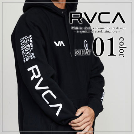 RVCA Hoodies Unisex Long Sleeves Plain Logo Hoodies