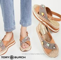 Tory Burch Stripes Open Toe Platform Rubber Sole Casual Style