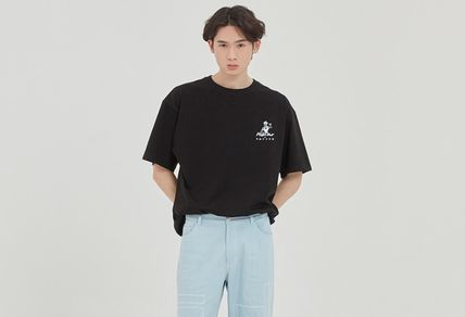Logo Crew Neck Collaboration Plain Cotton Medium