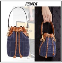 FENDI MON TRESOR Monogram Casual Style Denim 2WAY Purses Office Style