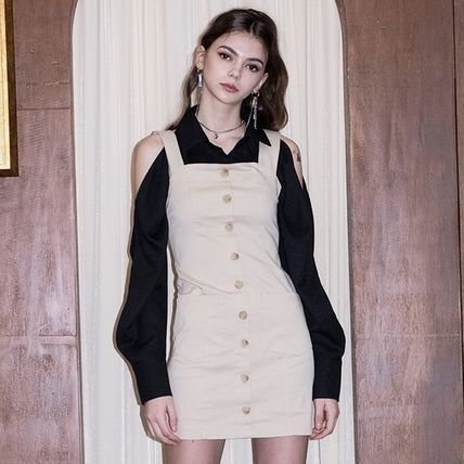 Short Dungarees Casual Style Tight Sleeveless Street Style
