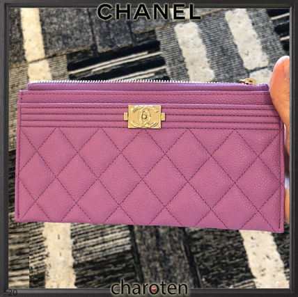 CHANEL BOY CHANEL Unisex Calfskin Plain Leather Pouches & Cosmetic Bags
