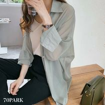 Casual Style Long Sleeves Plain Medium Icy Color Sheer