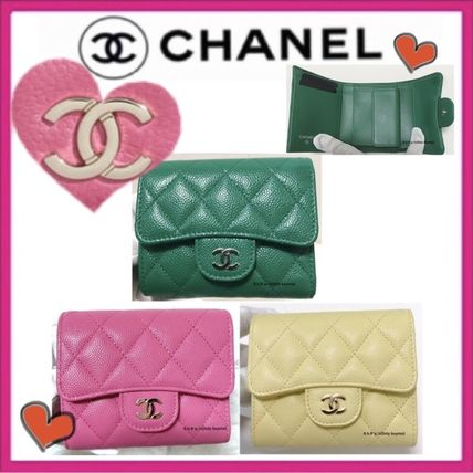 CHANEL MATELASSE Calfskin Plain Small Wallet Folding Wallets