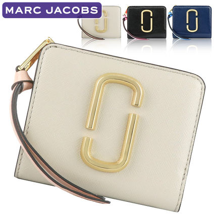 MARC JACOBS Plain Leather Folding Wallet Small Wallet Logo