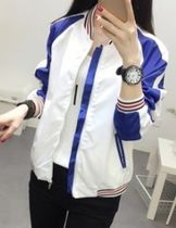 Short Casual Style Nylon Plain Varsity Jackets