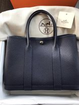 HERMES Garden Party Casual Style A4 Plain Leather Office Style Elegant Style