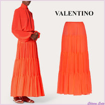 VALENTINO Casual Style Maxi Plain Long Neon Color Maxi Skirts