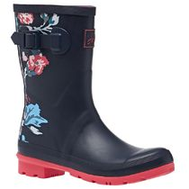 Joules Clothing Flower Patterns Round Toe Rubber Sole Logo Rain Boots Boots