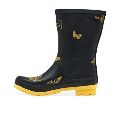 Flower Patterns Round Toe Rubber Sole Logo Rain Boots Boots