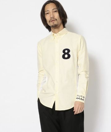 Button-down Unisex Bi-color Long Sleeves Plain Cotton