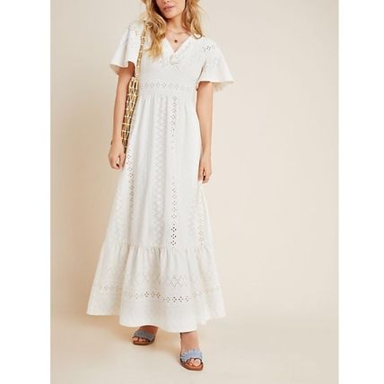 Flower Patterns Casual Style Maxi A-line Flared V-Neck Plain