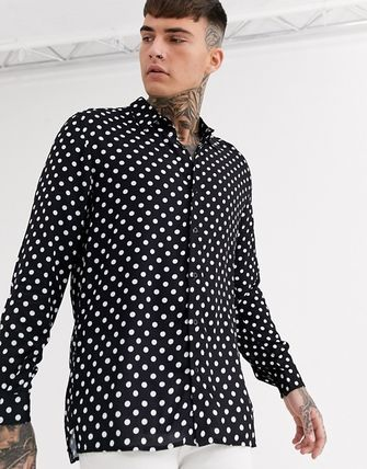 Dots Long Sleeves Front Button Shirts