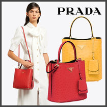 PRADA Dots Monogram Casual Style 2WAY Leather Office Style