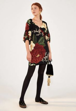 Short Flower Patterns Tropical Patterns Casual Style A-line