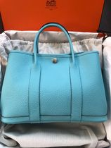HERMES Garden Party Casual Style A4 Plain Leather Handmade Office Style