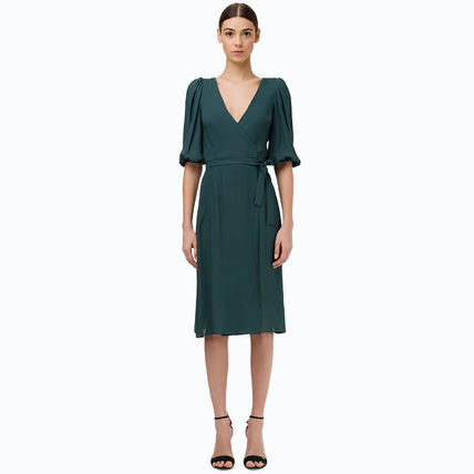 Wrap Dresses Casual Style A-line Flared V-Neck Cropped