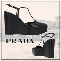 PRADA Square Toe Platform Plain Leather Party Style Elegant Style