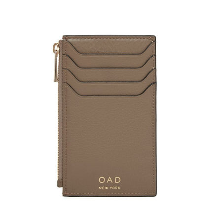 Plain Leather Long Wallet  Logo Card Holders