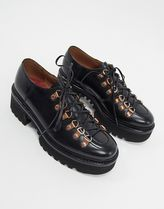 Grenson Round Toe Lace-up Casual Style Plain Leather Flats