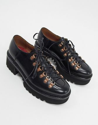 Round Toe Lace-up Casual Style Plain Leather Flats