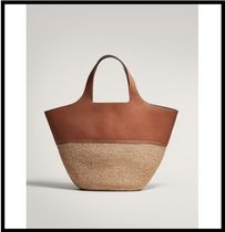 Massimo Dutti Leather Straw Bags